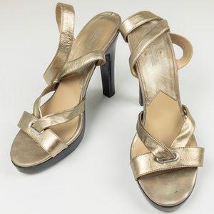 Micheal Kors Gold Platform Sandal Heels